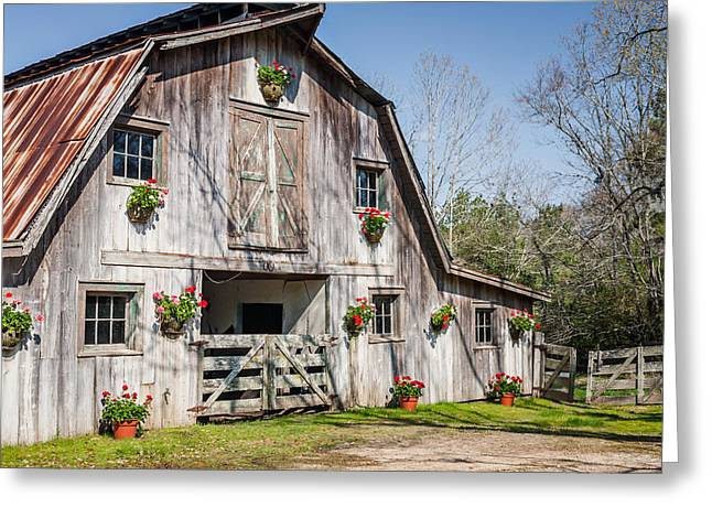 Barn With Flowers Greeting Card by Terry Ellis