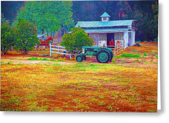 Barn With Horses And Oliver Tractor Greeting Card