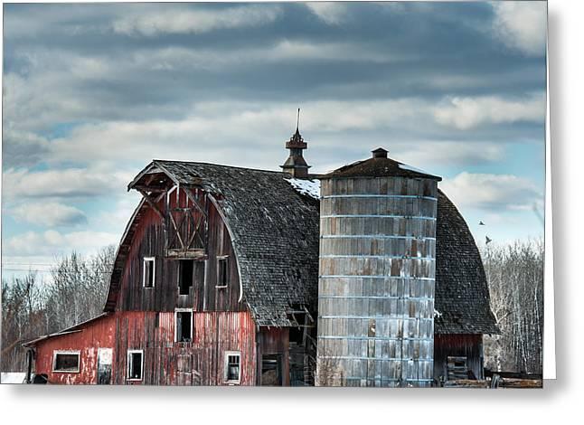 Barn With Silo Greeting Card by Paul Freidlund