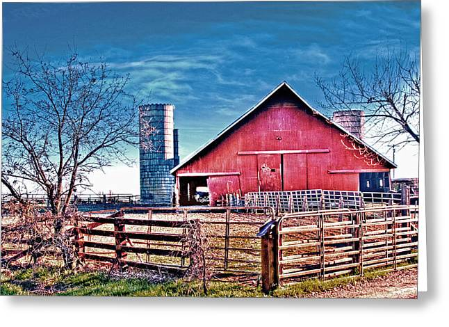 Barn With Silos Greeting Card