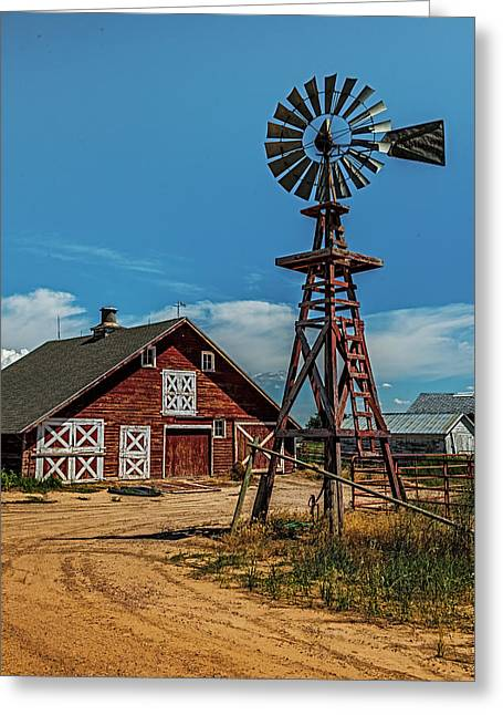 Barn With Windmill Greeting Card by Paul Freidlund