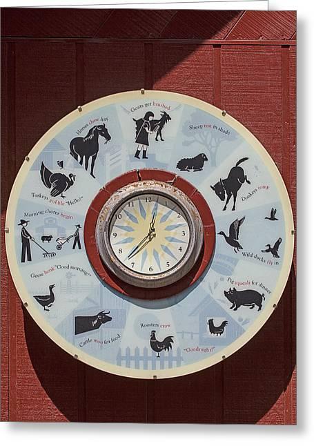 Barn Yard Clock Greeting Card