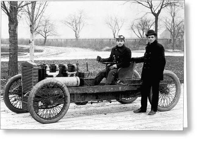 Barney Oldfield And Henry Ford Greeting Card by Underwood Archives