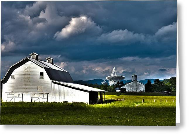 Barns And Radio Telescopes Greeting Card by Daniel Houghton