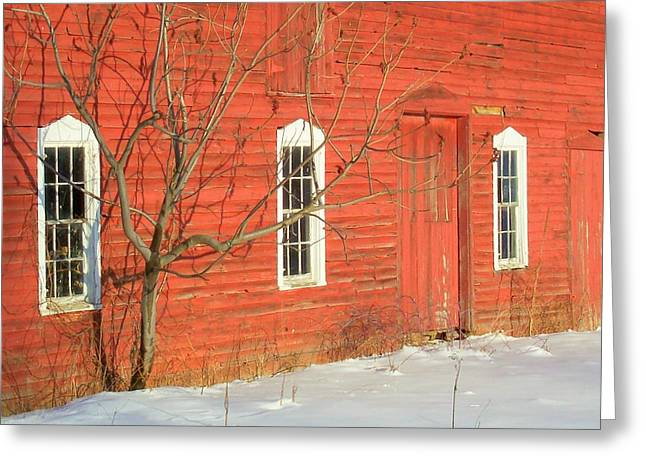 Greeting Card featuring the photograph Barnwall In Winter by Rodney Lee Williams