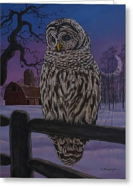 Barnyard Owl Greeting Card by Kevin Breyfogle