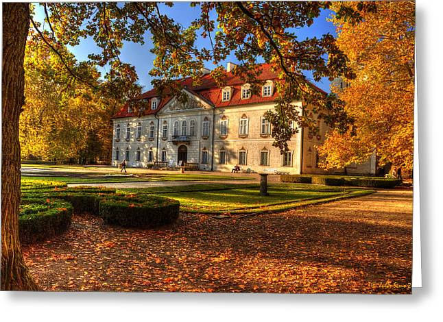 Baroque Palace In Nieborow In Poland During Golden Autumn Greeting Card