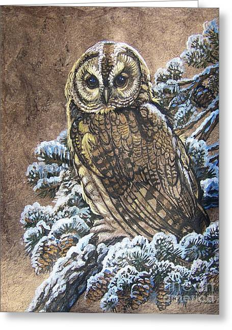 Barred Owl First Snow Greeting Card by Anne Shoemaker-Magdaleno