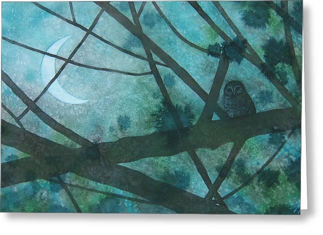 Barred Owl Moon Greeting Card