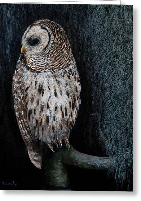 Barred Owl On A Mossy Perch Greeting Card