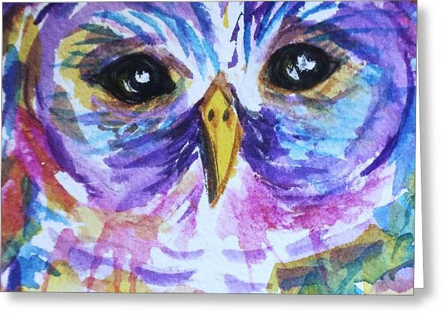 Barred Owl - Square Format Greeting Card by Ellen Levinson