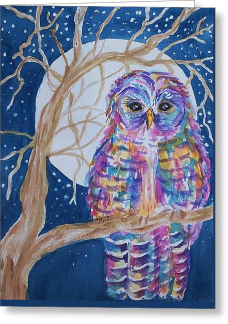 Barred Owl - Tie Dyed Greeting Card by Ellen Levinson