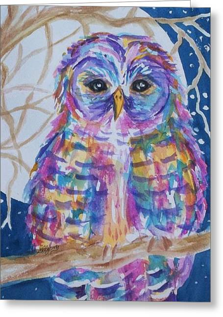 Barred Owl Tie Dyed II Greeting Card by Ellen Levinson