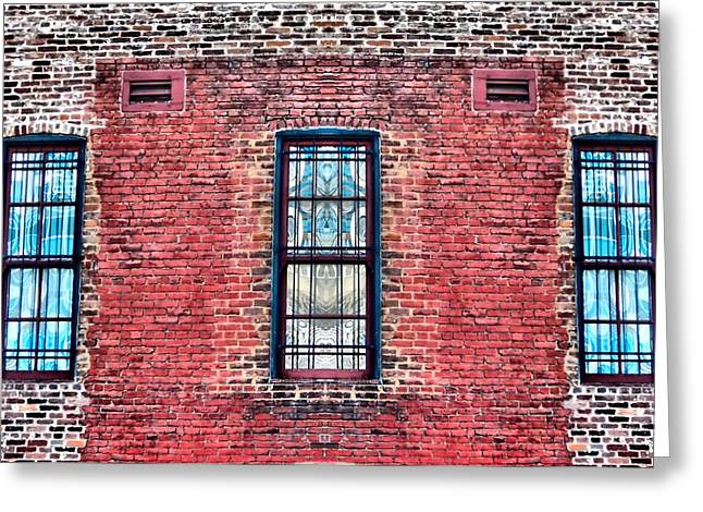 Barred Windows On Brick Greeting Card by Dan Sproul