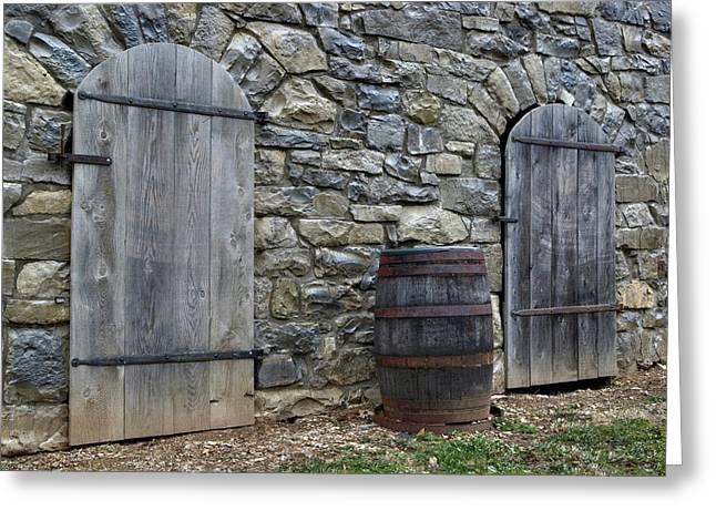 Barrel And Barn Doors Greeting Card by Gene Walls