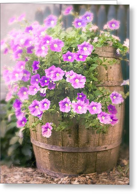 Barrel Of Flowers - Floral Arrangements Greeting Card