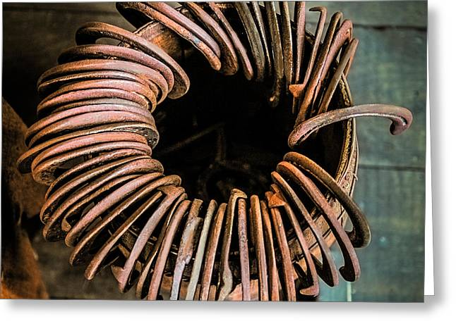 Barrel Of Horseshoes Greeting Card by Paul Freidlund