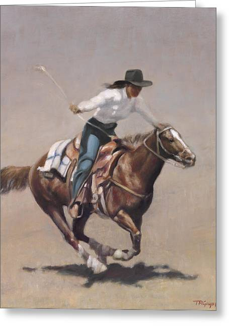 Barrel Racer Salinas Rodeo Greeting Card by Terry Guyer