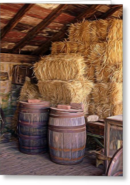 Barrels And Hay Greeting Card by Rachel Katic