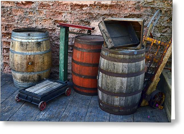 Barrels Crates Freight Scale Dolly Greeting Card
