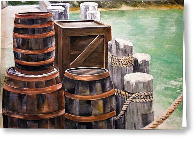 Barrels On The Pier Greeting Card