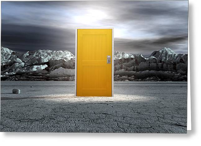 Barren Lanscape With Closed Yellow Door Greeting Card by Allan Swart