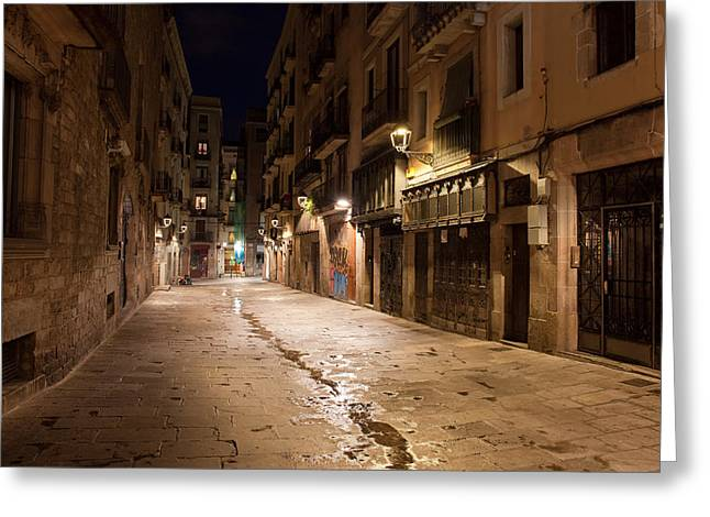 Barri Gotic At Night In Barcelona Greeting Card by Artur Bogacki