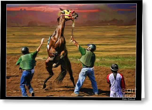 Barrington Harvey Looks On Horse Peekarandoconer Moment Greeting Card by Blake Richards