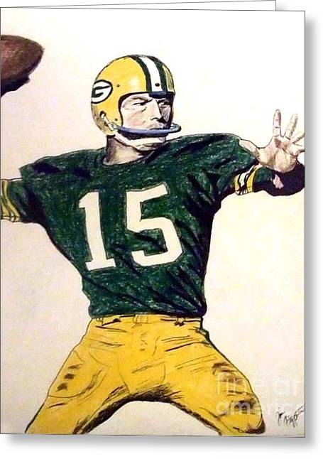 Bart Star Of The Green Bay Packers Greeting Card by Jim Fitzpatrick