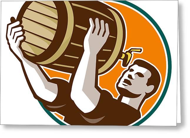 Bartender Pouring Drinking Keg Barrel Beer Retro Greeting Card