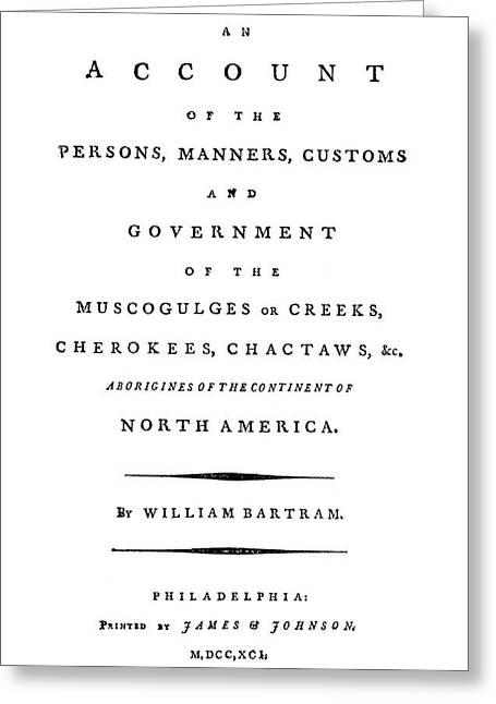 Bartram Title Page, 1791 Greeting Card