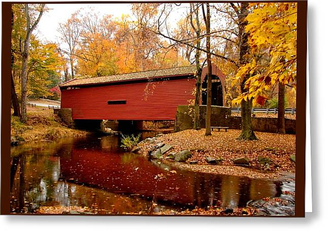 Bartram's Covered Bridge With Border Greeting Card