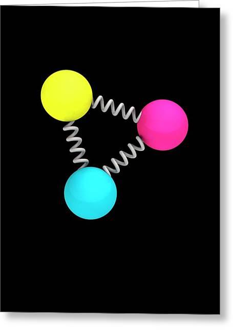Baryon Particle Greeting Card by Mikkel Juul Jensen