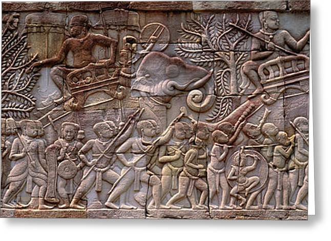 Bas Relief Angkor Wat Cambodia Greeting Card
