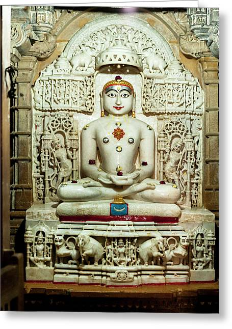 Bas Relief Jain Temple Golden Sandstone Greeting Card by Tom Norring