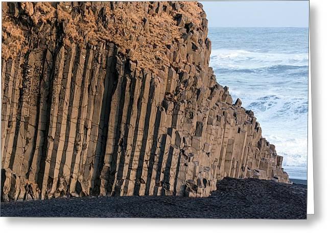 Basalt Columns On Beach Greeting Card