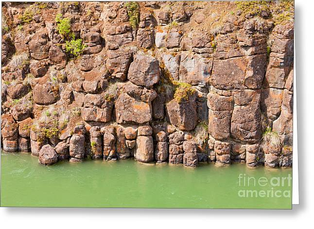Basalt Rock Columns Of Miles Canyon Yukon Canada Greeting Card by Stephan Pietzko