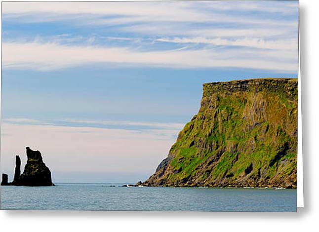 Basalt Rock Formations In The Sea, Vik Greeting Card