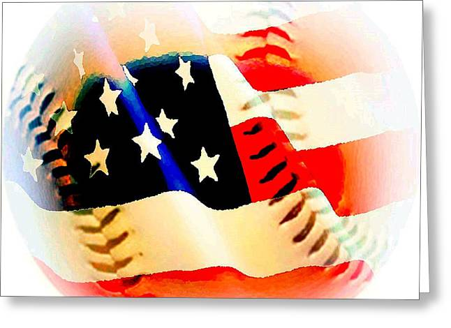 Baseball And American Flag Greeting Card
