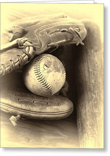 Baseball And Baseball Bat Greeting Card by Dan Sproul