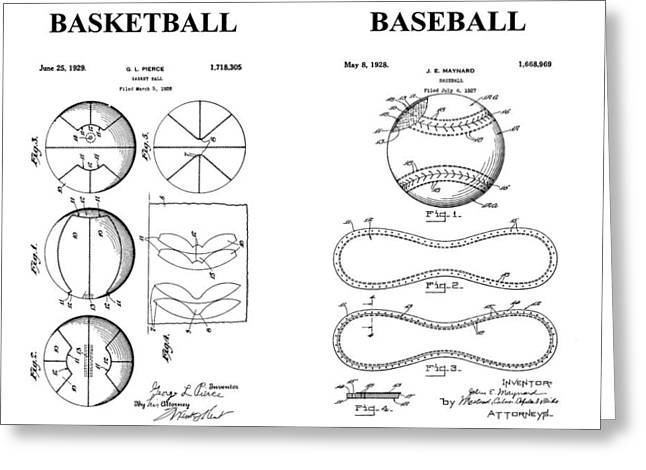 Baseball And Basketball Patent Drawing Greeting Card by Dan Sproul