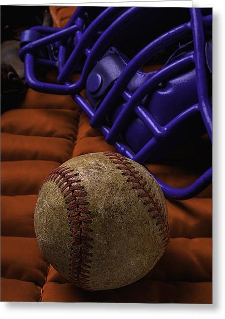 Baseball And Catchers Mask Greeting Card by Garry Gay