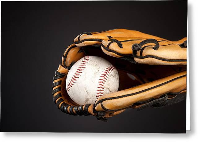 Baseball And Glove Greeting Card by Joe Belanger