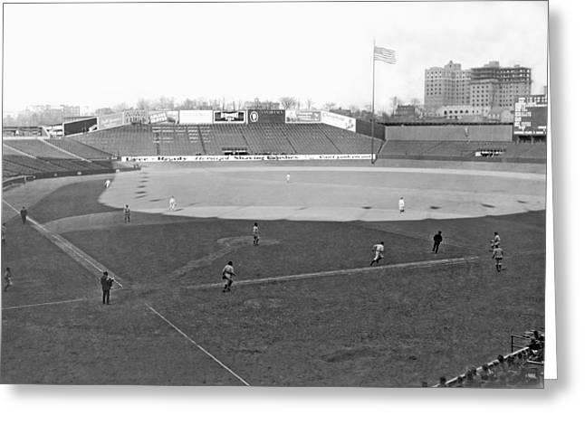 Baseball At Yankee Stadium Greeting Card by Underwood Archives