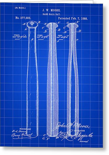 Baseball Bat Patent 1888 - Blue Greeting Card by Stephen Younts