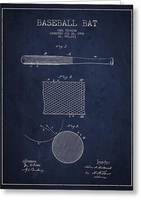 Baseball Bat Patent Drawing From 1904 Greeting Card
