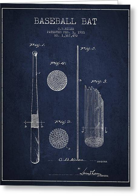 Baseball Bat Patent Drawing From 1921 Greeting Card