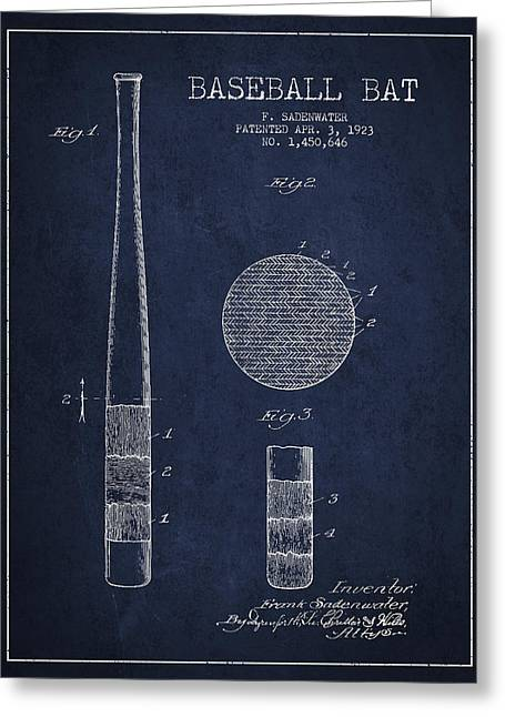 Baseball Bat Patent Drawing From 1923 Greeting Card by Aged Pixel