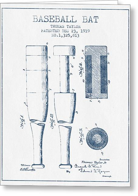 Baseball Bat Patent From 1919 - Blue Ink Greeting Card by Aged Pixel