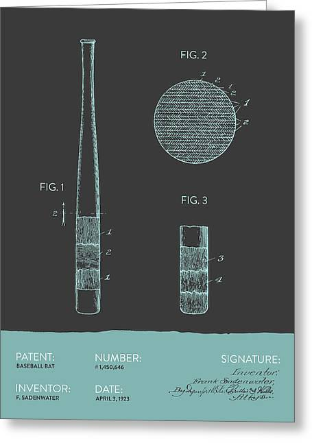 Baseball Bat Patent From 1923 - Gray Blue Greeting Card by Aged Pixel